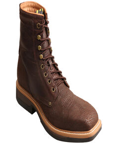 """Twisted X Men's 8"""" Lite Western Work Lacer Boots - Alloy Toe, Brown, hi-res"""