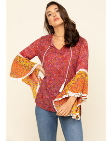 Red Label Women's Fuchsia Print Bell Sleeve Top , Dark Pink, hi-res