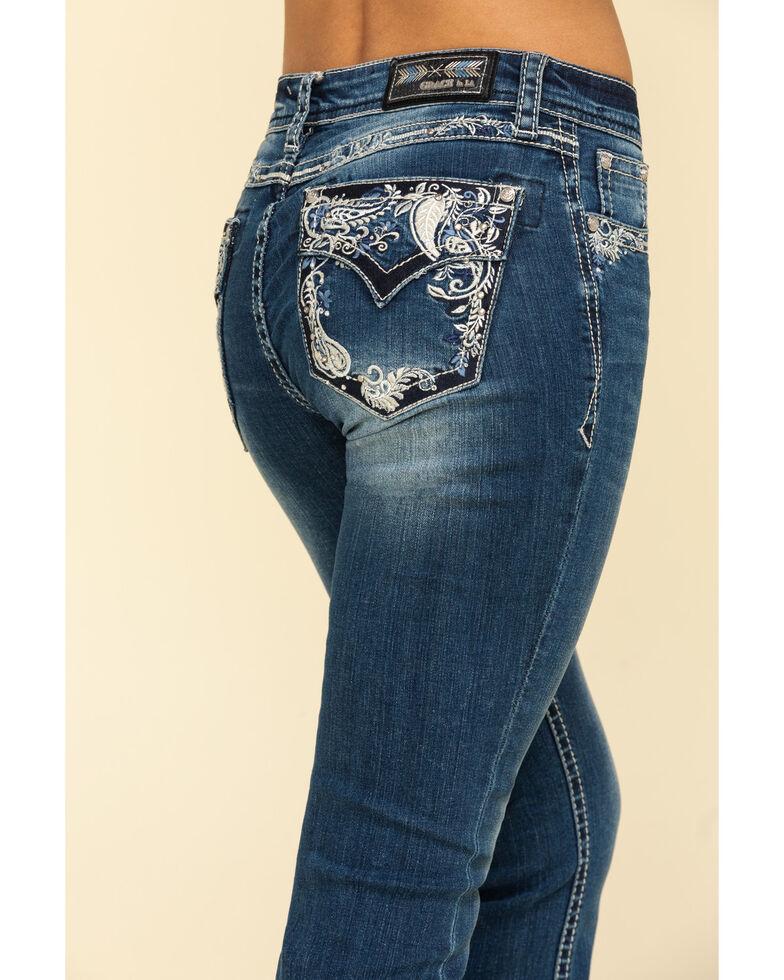 """Grace in LA Women's Medium Paisley 34"""" Bootcut Jeans, Blue, hi-res"""