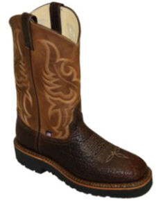 Abilene Men's Shrunken Bison Western Boots - Round Toe, Brown, hi-res