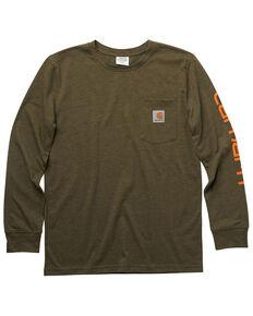 Carhartt Boys' Green Crewneck Pocket Long Sleeve Shirt, Medium Green, hi-res