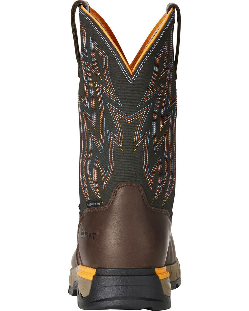 Ariat Men's Rebar Flex H2O Brown Western Work Boots - Composite Toe, Brown, hi-res