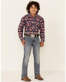 Rock & Roll Denim Boys' Light Vintage Revolver Stretch Regular Straight Jeans, Indigo, hi-res