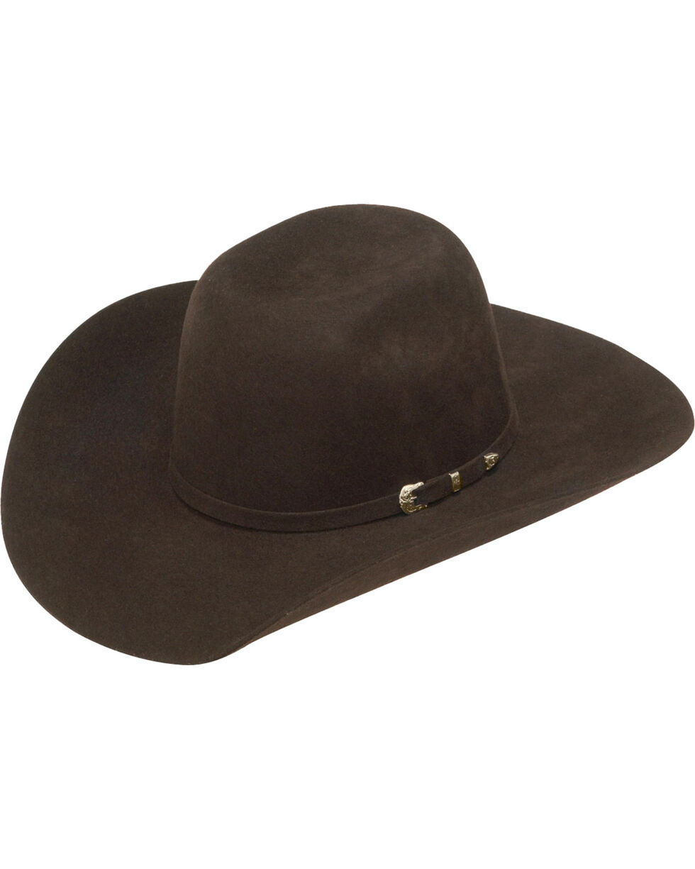 Ariat Boys' Chocolate Colored Wool Felt Cowboy Hat, Chocolate, hi-res