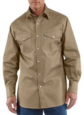 Carhartt Solid Cotton Twill Long Sleeve Work Shirt - Big & Tall, Khaki, hi-res