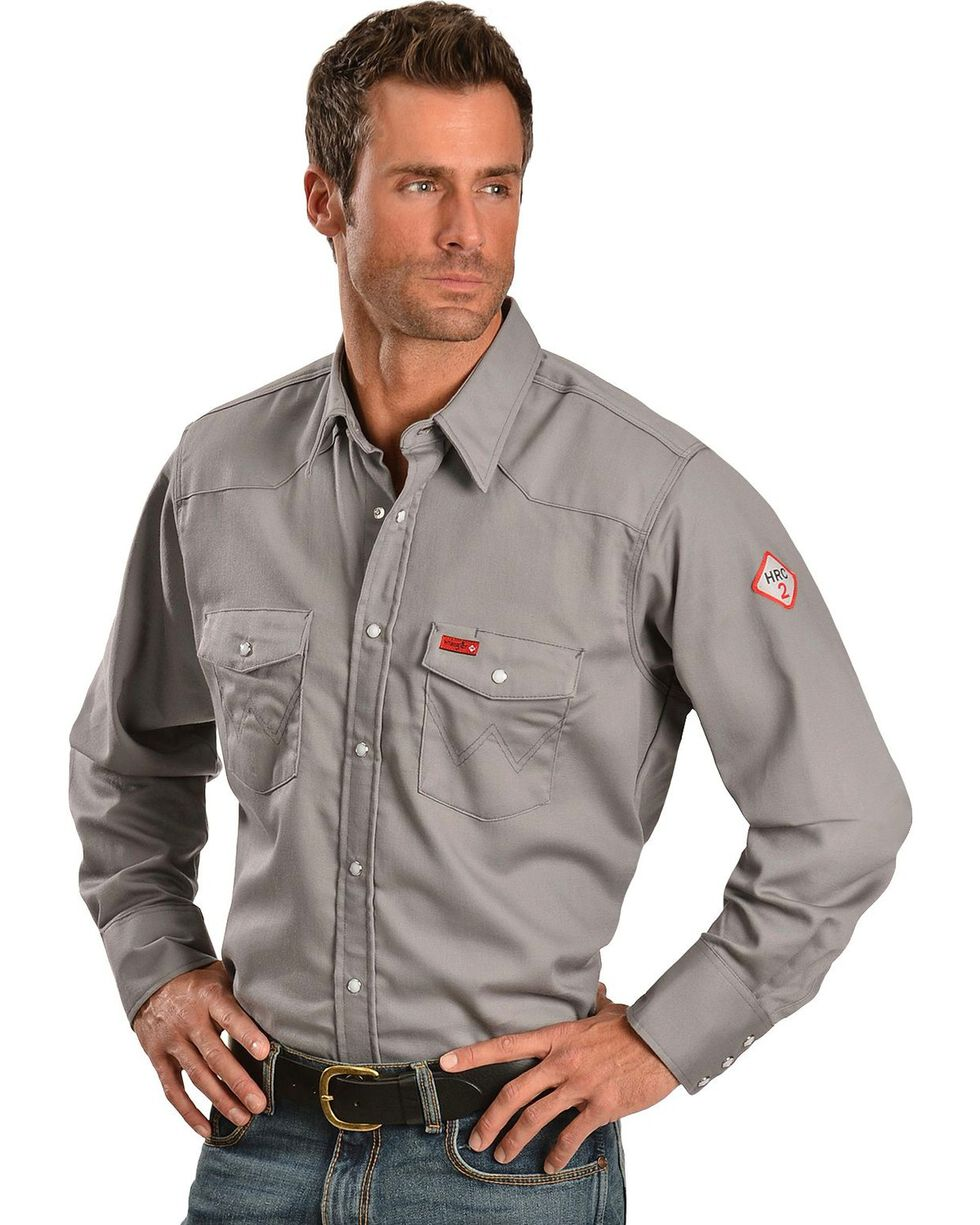 Wrangler Lightweight Flame Resistant Western Work Shirt, Charcoal Grey, hi-res