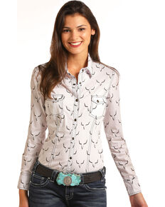 327eb2bf84701 Rock   Roll Cowgirl Womens Steer Skull Long Sleeve Snap Shirt