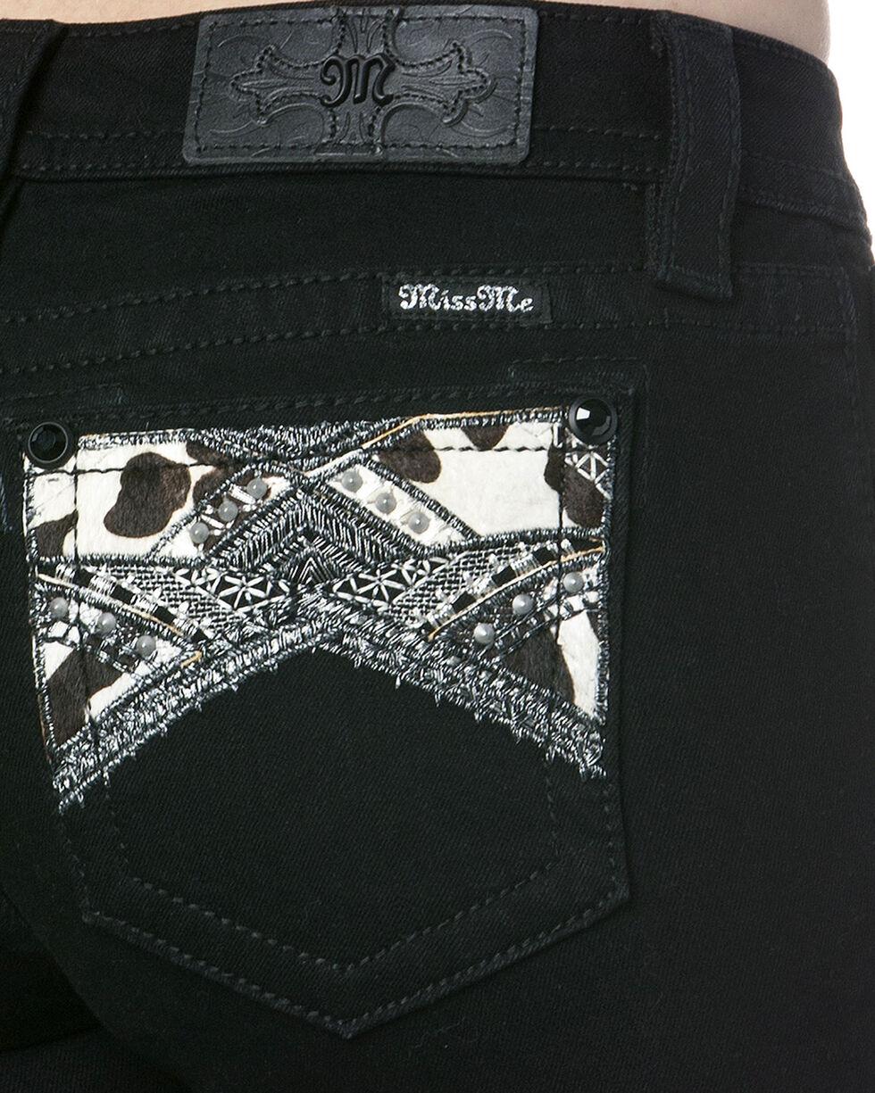 Miss Me Women's Cowhide Embellished Pocket Mid-Rise Skinny Jeans, Black, hi-res