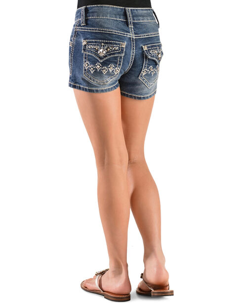 Red Ranch Girls' Flap Pocket Embellished Denim Shorts - 4-6X, Denim, hi-res