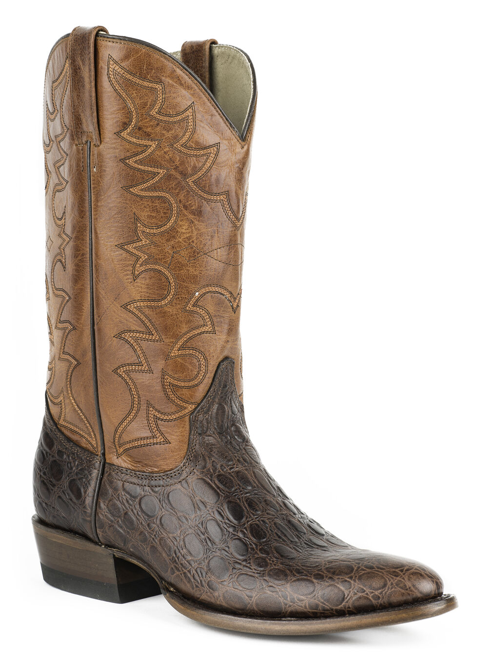 Roper Sea Turtle Print Tall Cowboy Boots - Round Toe, Dark Brown, hi-res
