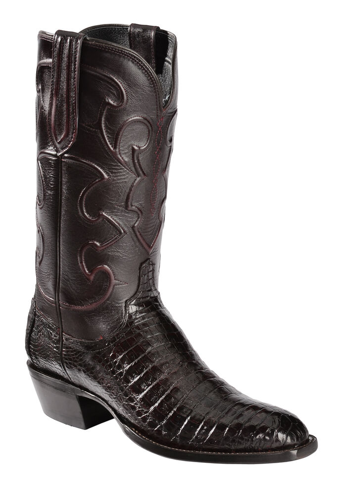 Lucchese Handmade 1883 Men's Charles Crocodile Belly Cowboy Boots - Round Toe, Black Cherry, hi-res