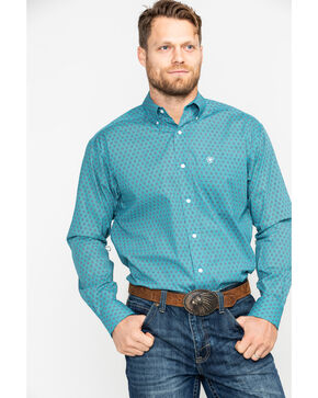 Ariat Men's Caidan Stitch Floral Print Long Sleeve Western Shirt , Blue, hi-res