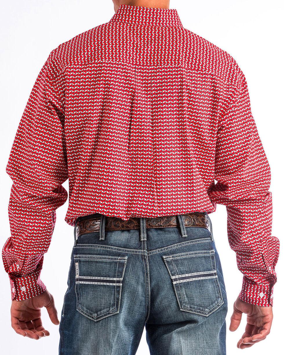 Cinch Men's Red Hexagon Print Western Shirt , Red, hi-res