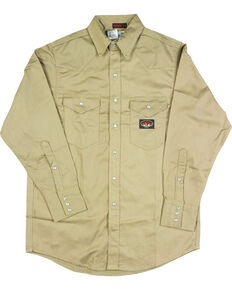 Rasco Men's Flame Resistant Long Sleeve Work Shirt - Tall, Beige/khaki, hi-res