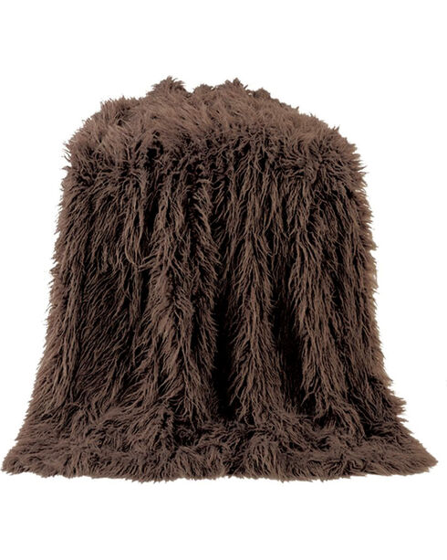 HiEnd Accents Chocolate Mongolian Faux Fur Throw , Chocolate, hi-res