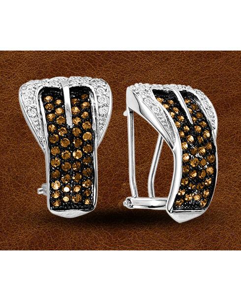 Kelly Herd Sterling Silver Rhinestone Embellished Buckle Clip-On Earrings, Silver, hi-res