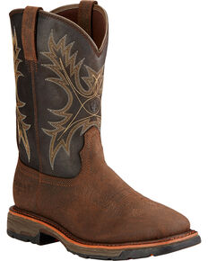 Ariat Men's Workhog H2O Western Work Boots - Square Toe , Brown, hi-res