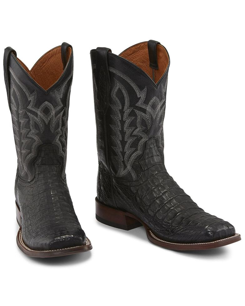 Tony Lama Men's Black Hornback Caiman Boots - Square Toe , Black, hi-res