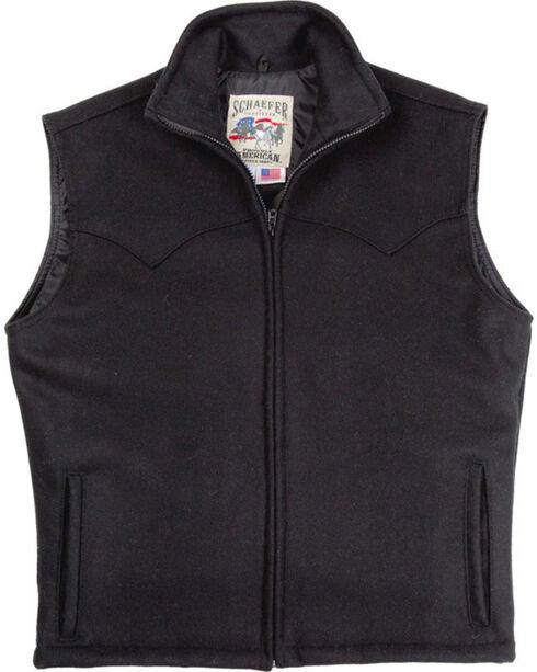 Schaefer Men's Black Arena Melton Wool Vest - 2XL, Black, hi-res