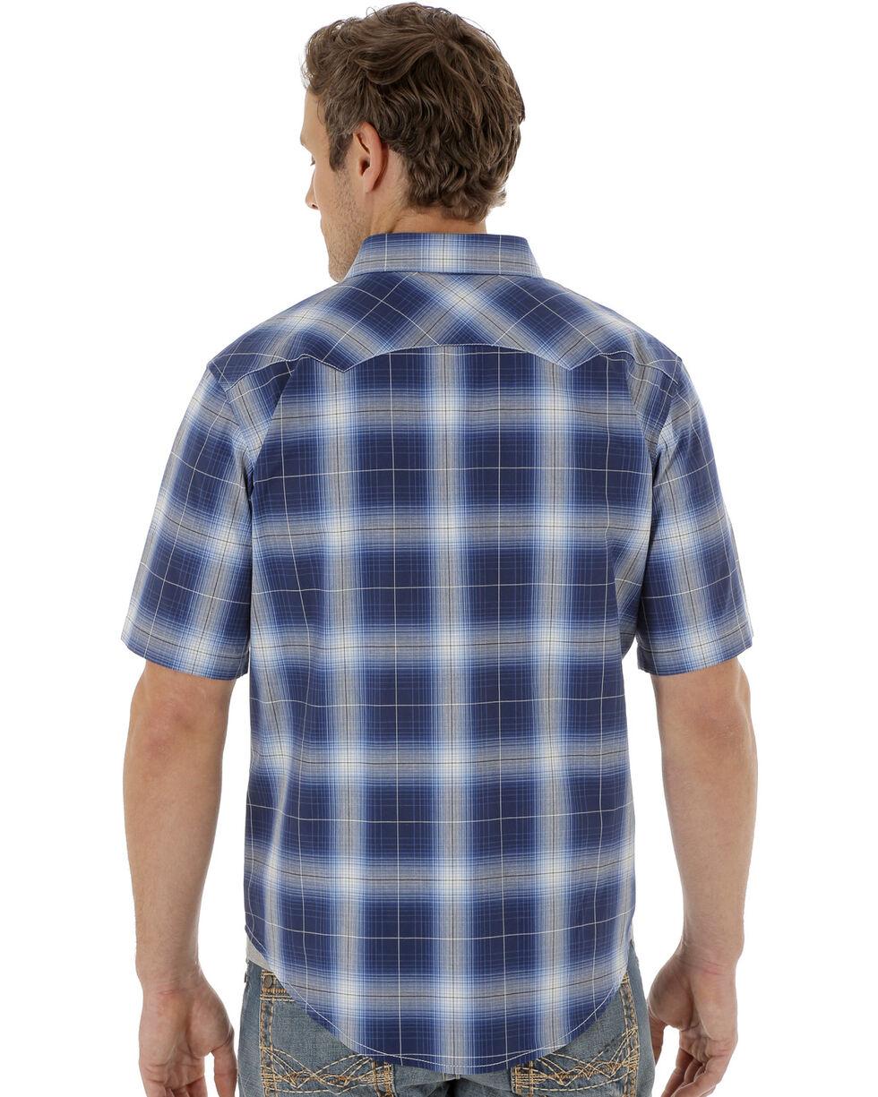 Wrangler Men's Navy Short Sleeve Western Jean Shirt, Navy, hi-res