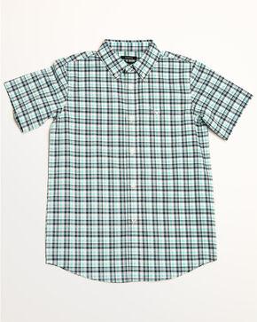Ariat Boys' Hammerman Stretch Plaid Short Sleeve Western Shirt , White, hi-res