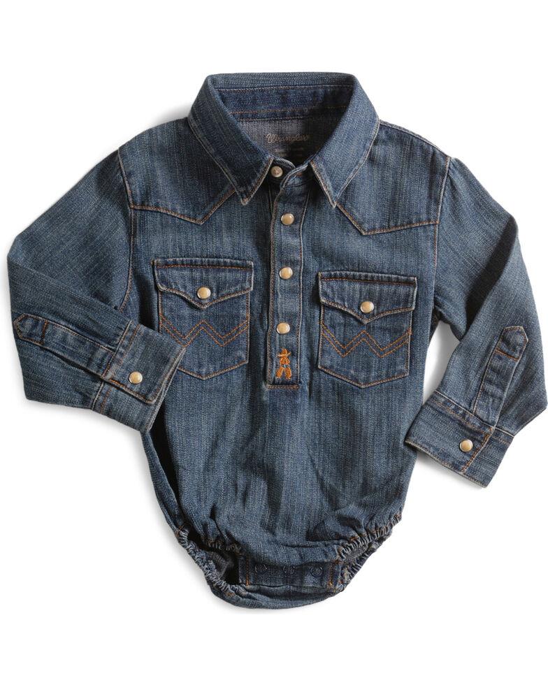 Wrangler Infant Boys Denim Shirt Bodysuit - 3-18 months, Denim, hi-res
