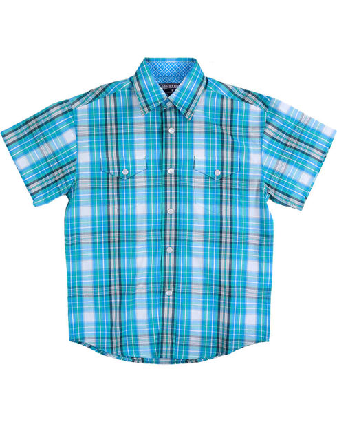 Panhandle Boys' Turquoise Short Sleeve Snap Plaid Shirt , Turquoise, hi-res