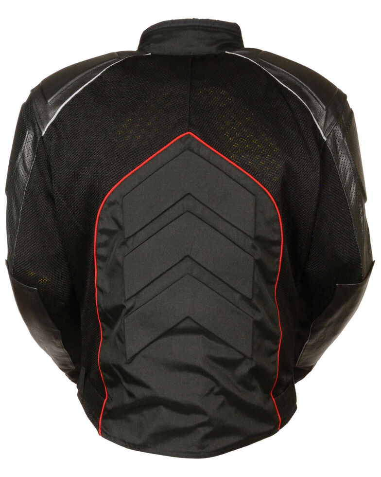 Milwaukee Leather Men's Combo Leather Textile Mesh Racer Jacket - 3X, Black/red, hi-res