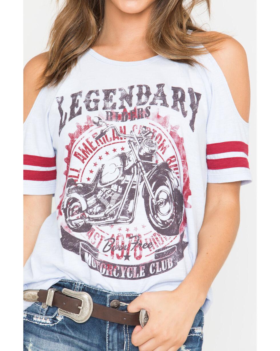 Shyanne Women's Motorcycle Cold Shoulder T-Shirt, Light Blue, hi-res