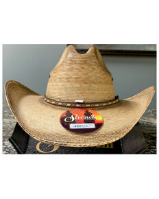 Serratelli Natural San Marcus Xtra Toasted Gus Palm Straw Western Hat , Natural, hi-res
