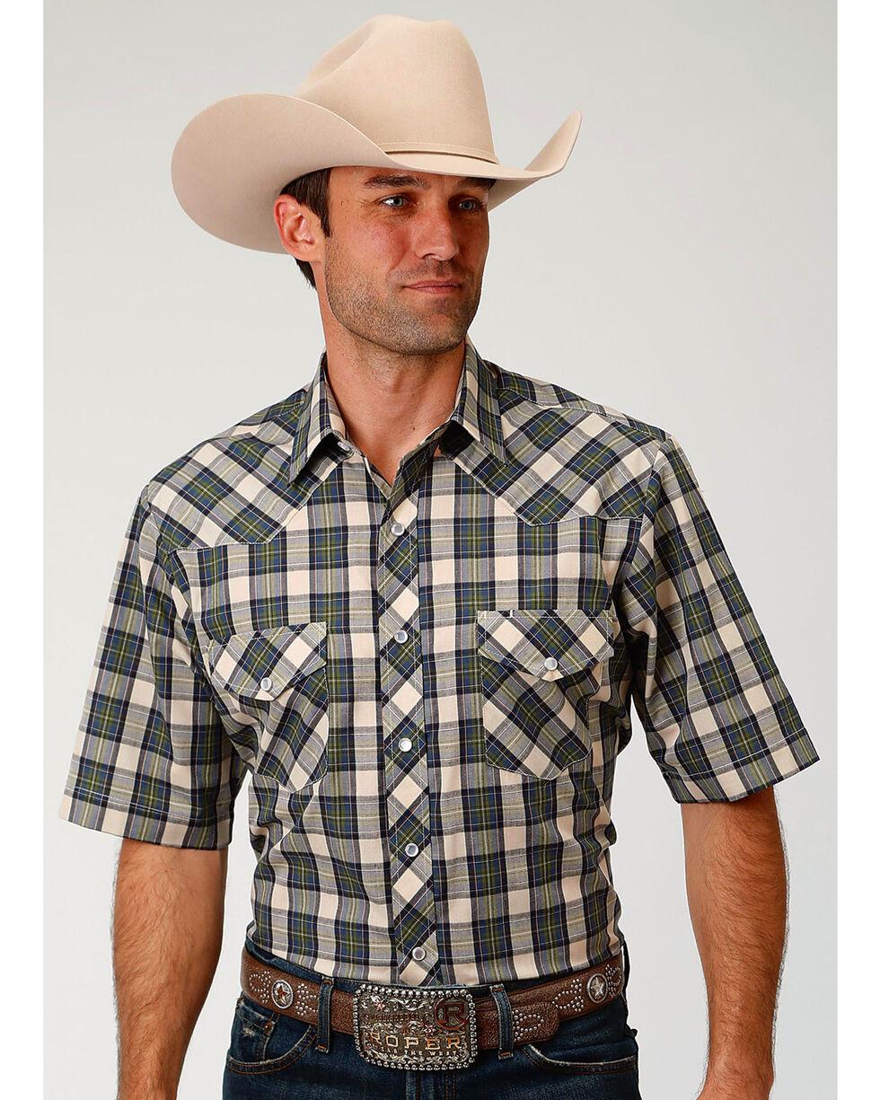 Roper Men's Tan Plaid Short Sleeve Western Snap Shirt, Tan, hi-res