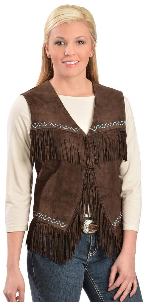 Scully Western Suede Fringe Vest, Chocolate, hi-res