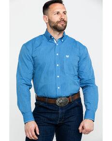 Rough Stock by Panhandle Men's Asti Poplin Print Long Sleeve Western Shirt , Blue, hi-res