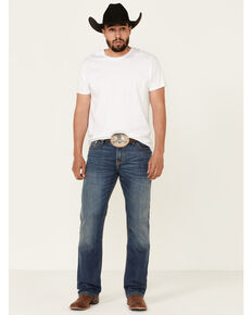Cinch Men's Ian Performance Denim Medium Wash Slim Bootcut Jeans  , Indigo, hi-res