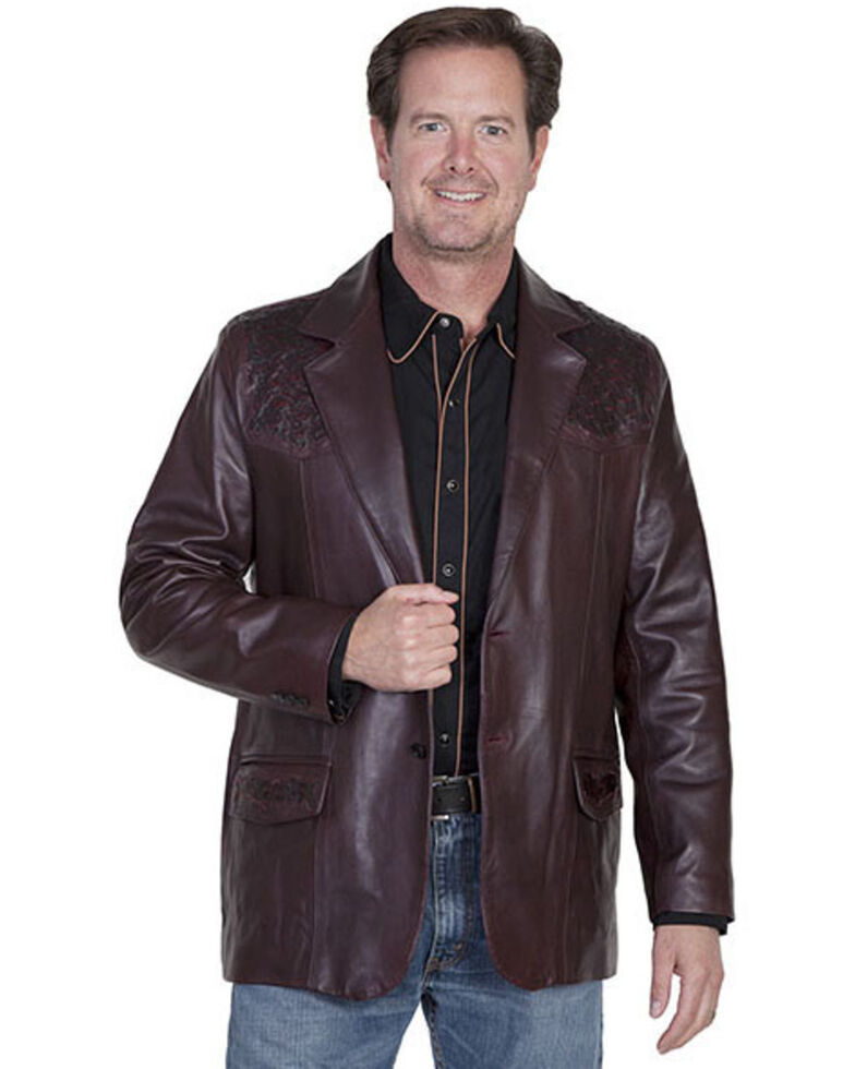 Scully Ostrich Trim Leather Blazer - Regular / Big and Tall, Black Cherry, hi-res