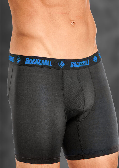"Rock and Roll Cowboy Men's Black and Blue 6"" Boxer Briefs , Black, hi-res"