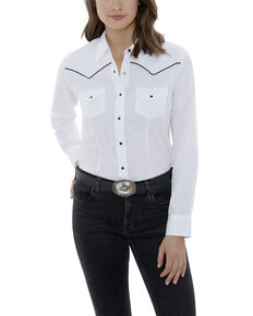 Ely Cattleman Women's White Piping Long Sleeve Western Shirt - Plus, White, hi-res