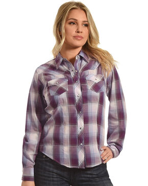Ely Cattleman Women's Plum Plaid Western Shirt , Purple, hi-res
