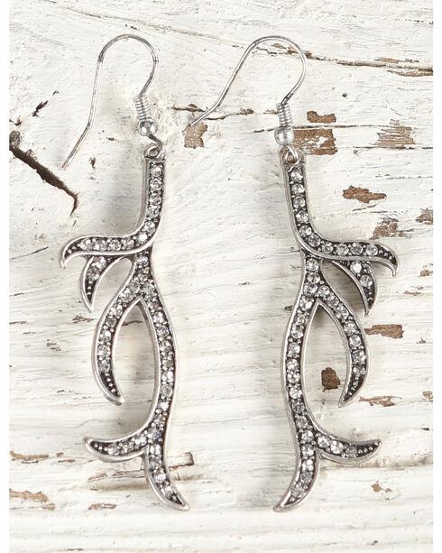 Shyanne Women's Rhinestone Antler Earrings, Silver, hi-res