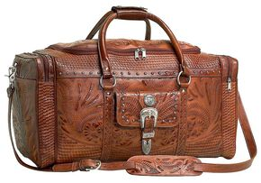 American West Fancy Zip Leather Rodeo Bag, Tan, hi-res