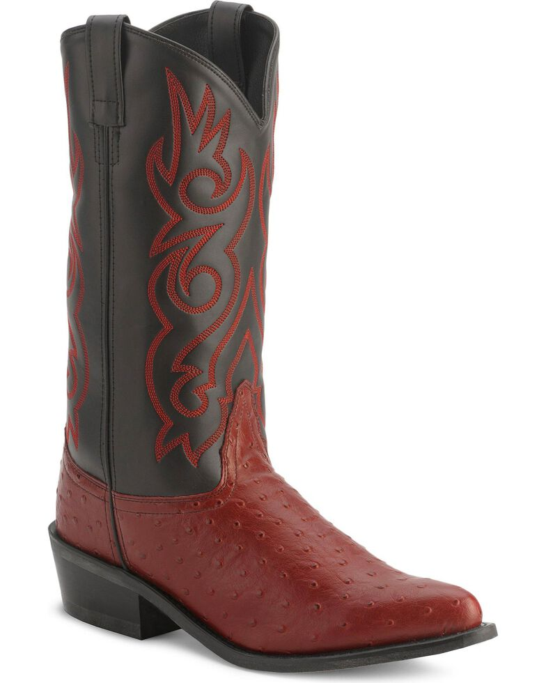 Old West Fancy Stitched Ostrich Print Cowboy Boots - Pointed Toe, Black Cherry, hi-res
