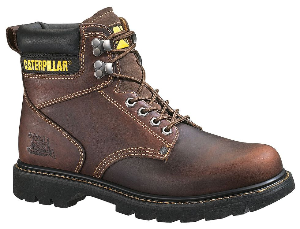 "Caterpillar 6"" Second Shift Lace-Up Work Boots - Round Toe, Tan, hi-res"