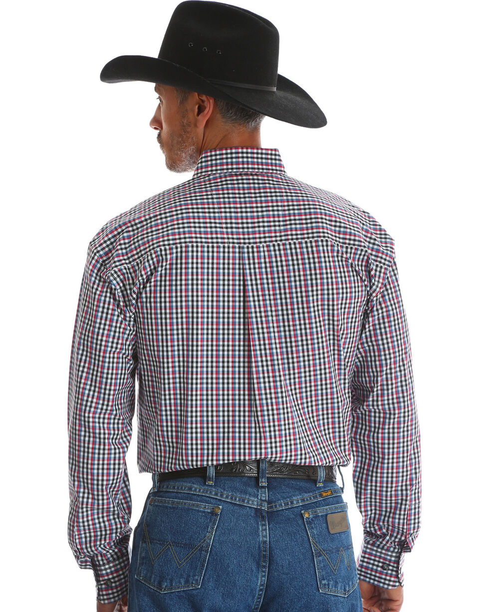 George Strait by Wrangler Men's Black Plaid Double Pocket Western Shirt , Black, hi-res