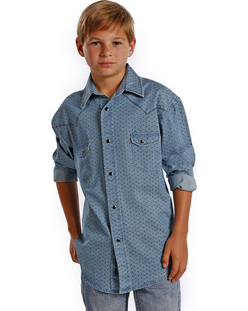 Rock & Roll Cowboy Boys' Poplin Diamond Print Shirt , Blue, hi-res