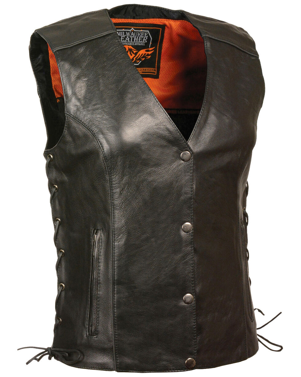Milwaukee Leather Women's Stud & Wings Leather Vest, Black, hi-res