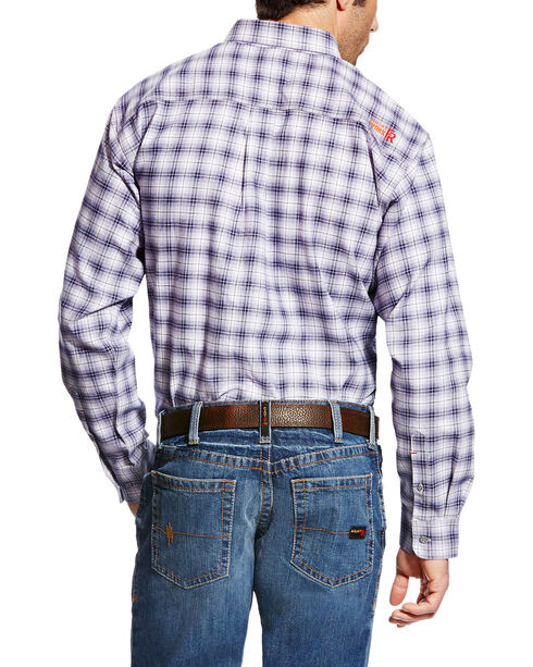 Ariat Men's FR McLean Long Sleeve Plaid Work Shirt - Big & Tall, Navy, hi-res