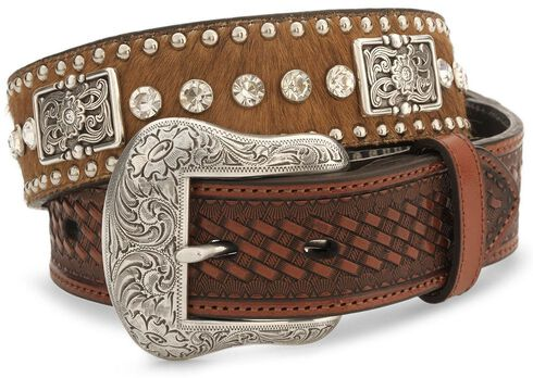 Nocona Crystal Studded Hair-On-Hide Leather Belt - Reg & Big, Brown, hi-res