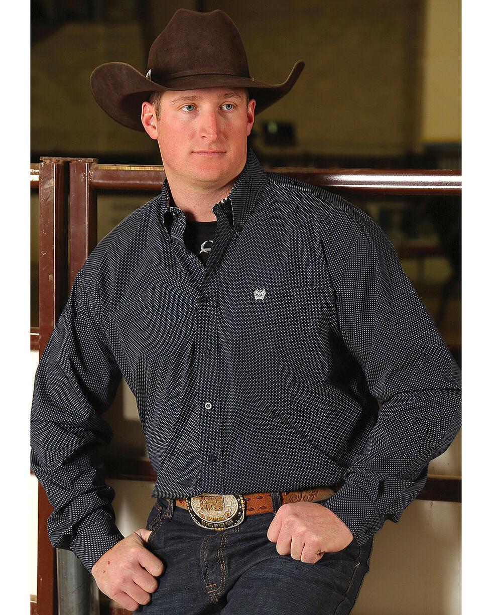 Cinch Men's Navy Dot Print Button-Down Western Shirt, Navy, hi-res
