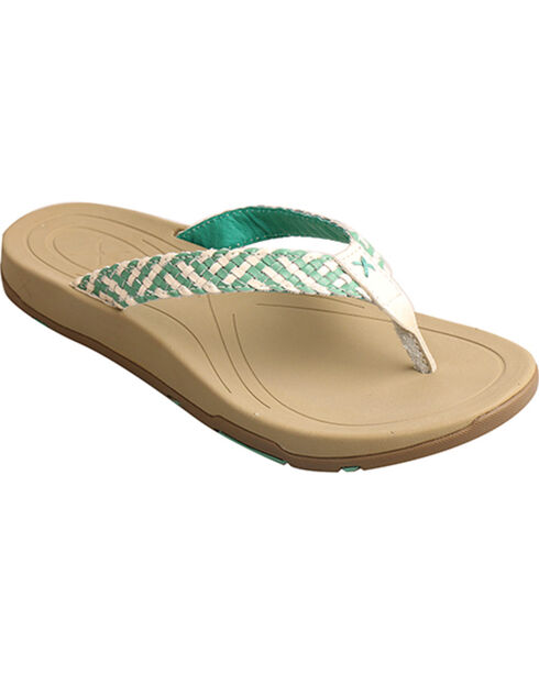 Twisted X Women's Woven Strap Sandal, Teal, hi-res
