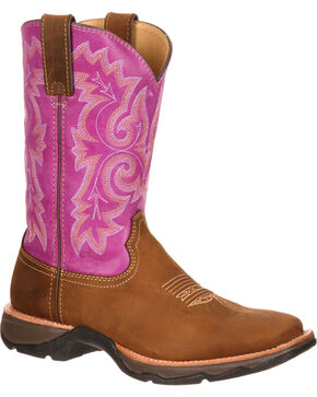 Durango Women's Lady Rebel Ramped Up Western Boots - Square Toe, Tan, hi-res